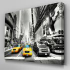C038 New York Taxi Black White Canvas Wall Art Ready to Hang Picture Print