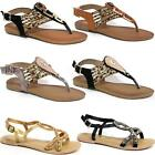 Ladies Gladiator Sandals New Womens Flat Strappy Fancy Summer Beach Shoes Size