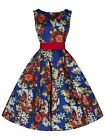 Elegant 40's 50's Cobalt Blue Floral Rockabilly Cocktail Prom Tea Dress New 8-18