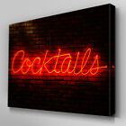 AB125 Red Neon Cocktails Sign Canvas Wall Art Ready to Hang Picture Print