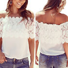 Sexy Hot Ladies Lace Chiffon Off Shoulder Top Shirt Casual Blouse T-Shirt UK