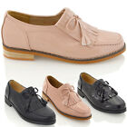 WOMENS LADIES FRINGE BOW LOAFERS FLAT OFFICE WORK SCHOOL CASUAL BROGUES SHOES
