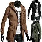SUMMER CLEARANCE Men's Casual Military Long Trench Coat Outerwear Jackets Hooded