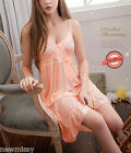 Peach Silky Chemise Nightdress Ladies Nightie Nightwear Sleepwear Dress 8/10/12