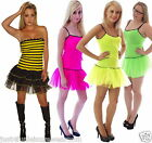 NEON TUTU DRESS 80's FANCY DRESS LADY BUG BUMBLE BEE PARTY