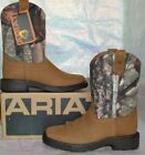 ARIAT WORKHOG WESTERN COWBOY BOOTS CHILD BOY'S Brown Aged Bark Camo 10011934 NEW
