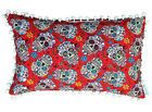 Cushion Cover - Day of the Dead red skull candy flower 60cm 50cm lumbar pillow