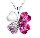 Silver Women Happiness CA Clover Leaf Crystal Pendant Chain Necklace Gift TI