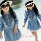 New Kids Girls Long Sleeve Casual Jeans Dress Lace Borders Skirt Clothes 2-7Y