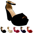 Womens Chunky Heel Platform Ankle Strap Evening Faux Suede High Heels UK 3-9