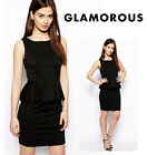 Ladies Black Peplum Dress By GLAMOROUS Brand - All Sizes - Summer Special Price