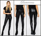 Ladies Glamorous Black PU Leggings Casual ONTREND Stretch New Sizes 8 10 12 14