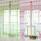 Floral Tulle Voile Door Window Curtain Divider Scarf Drape Panel Sheer Valances