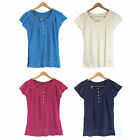 NWT Eddie Bauer Peasant Blouse Top Short Sleeve Shirt 100% Soft Cotton 4 colors