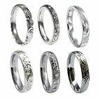 NEW 925 HM 3mm Sterling Silver Hand Engraved Court Comfort Wedding Bands Rings
