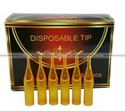 50pcs Open Flat Round Diamond Transparent Tattoo Tips Disposable Short Orange