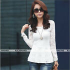 Women Casual Breathable Hollow Lace Embroidery Crochet Long Sleeve Top Blouse