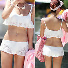 hot Women Sexy Bandeau Lace Crochet Bikini Set Push Up Bathing Swimwear Swimsuit