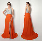 Sexy New Stock White Orange Crystal Long Chiffon Formal Evening Party Prom Dress