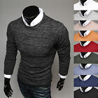 Mens Premium Slim Fit Round Neck Crewneck Basic Knit Sweater Jumper Top E301-S/M