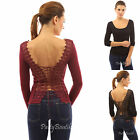 PattyBoutik Corset Embroidered Lace Up Back Long Sleeve Blouse Top