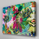 FL440 Peacock Feather Flowers Canvas Wall Art Multi Panel Split Picture Print