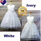 White Or Ivory Embroidery Flower Girl Dress, Communion Confirmation Girls Dress
