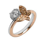CZ Flower & Butterfly Rings White Rose Gold 925 Sterling Silver Ring - r1675