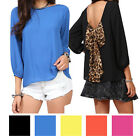 Women's Cut Out Back Evening Top T-Shirts Vests Blouse with Leopard Bow Tie NEW