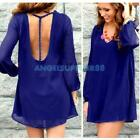 Women Casual Party Sexy Chiffon Loose Backless One Piece Dress Braces Skirt Blue