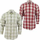 Mens Shirt By Farah Casual Big Check Cotton Red Or Stone Long Sleeves