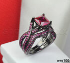Princess Pink Sapphire Black Bridal Ring 925 Silver Engagement Wedding Ring Set