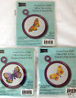 Lot 3 Butterfly Counted Cross Stitch Kits Studio18 Pink Round Frame 3.25 NEW