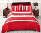 Detroit Red Striped Polycotton Printed Duvet Cover and Pillowcase Set Rapport