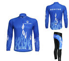 Cycling Bike Bicycle Sports Clothing Mens Suit Long Sleeve Jersey + Pants S-4XL