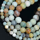 "Natural Colorful Amazonite Round Beads 15.5"" 2,4,6,8,10,12mm"