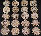 15-100 Bulk Gold Crystal Women Flower Brooch Pin Wedding Bouquet Wholesale Lot