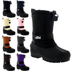Unisex Kids Pull On Drawstring Closure Nylon Winter Snow Rain Fur Boots UK 9-6