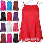 New Womens Ladies Rose Floral Lace Strappy Cami Square Neck Swing Vest Dress Top