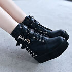 Women's Rivet Spiked Buckle Strap Platform Creeper Wedge Heels Ankle Boots NC01