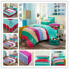 Striped Duvet Quilt Doona Cover Set Single Queen King Size Bed Fitted Sheets Set