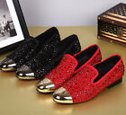 Hot Men's rivet rhinestones pointed toe leather formal heel dress business shoes