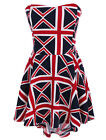 Women Strapless British Union Flag Pattern Stylish Mini Dress