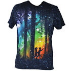 Design By Humans Rainbow Woods Night Graphic Navy Blue Tshirt Adult Tee