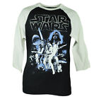 Star Wars Movie Episodes Cast Darth Vader 3/4 Sleeve Men Black Tshirt Tee