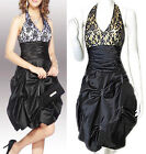 New Black Silver Gold Beaded Satin Lace Cocktail Prom Party Formal Dress