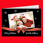 Personalised Photo Christmas Xmas Bow Cards Folded Or Single Sided Style D10