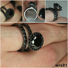 Womens Gothic Black on Black Sterling Silver 925 Engagement Wedding Ring Set