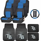 Synthetic Leather Seat Covers Set MLB Tampa Bay Rays Rubber Mat Universal on Ebay