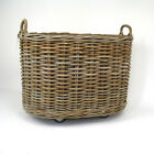 Grey Rattan Oval Log Basket on Wheels